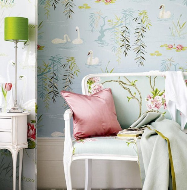 25 Chic And Serene Green Bedroom Ideas: Turquoise-blue-floral-wallpaper-design-interior-pink-green