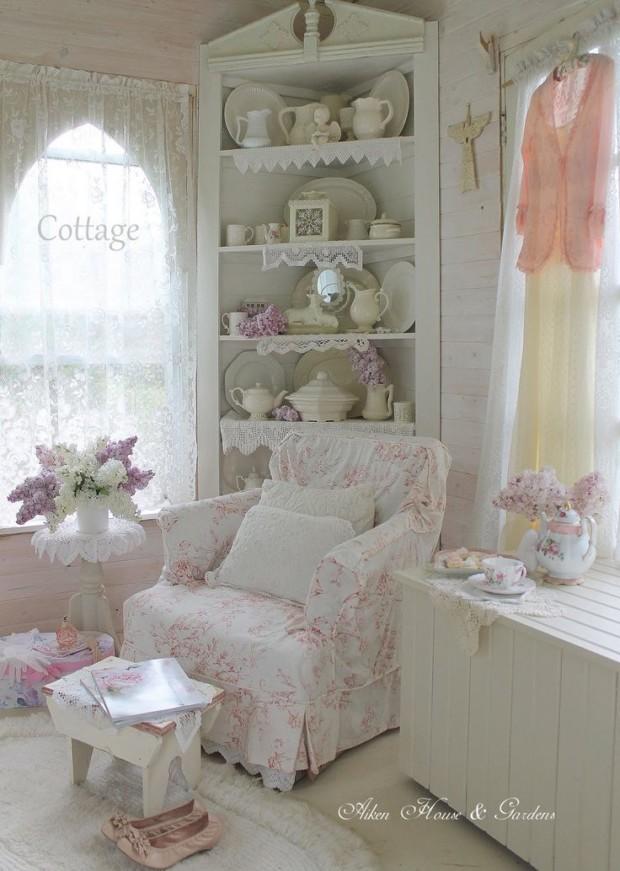 Romantic Shabby Chic Liivng Room Interior Design Pastel