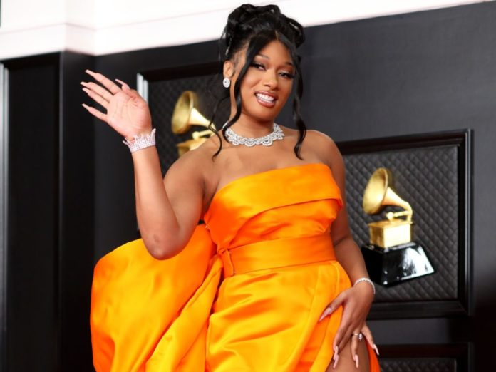Megan Thee Stallion on the red carpet at the 63rd Annual Grammy Awards.